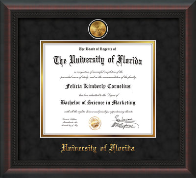 Image of University of Florida Diploma Frame - Mahogany Braid - w/24k Gold-Plated Medallion UFL Name Embossing - Black Suede on Gold mats