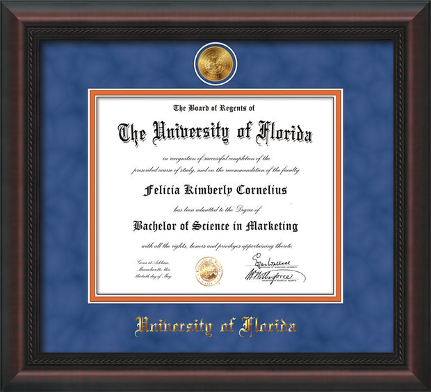 Image of University of Florida Diploma Frame - Mahogany Braid - w/24k Gold-Plated Medallion UFL Name Embossing - Royal Blue Suede on Orange mats