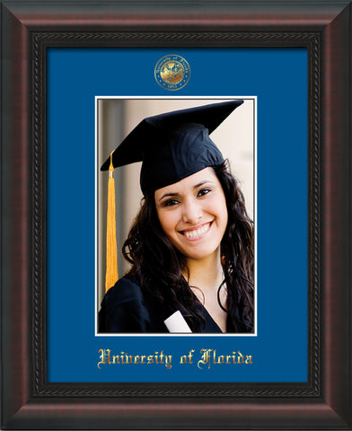 Image of University of Florida 5 x 7 Photo Frame - Mahogany Braid - w/Official Embossing of UF Seal & Name - Single Royal Blue mat
