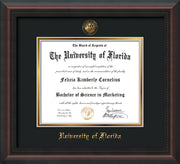 Image of University of Florida Diploma Frame - Mahogany Braid - w/Embossed Seal & Name - Black on Gold mat