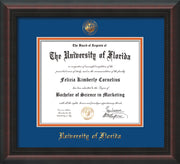 Image of University of Florida Diploma Frame - Mahogany Braid - w/Embossed Seal & Name - Royal Blue on Orange mat