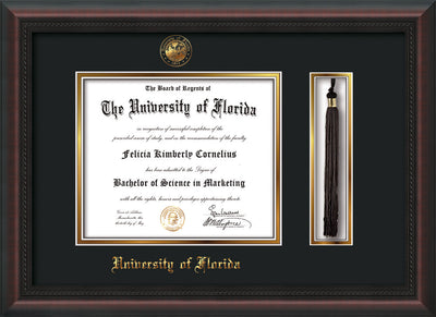 Image of University of Florida Diploma Frame - Mahogany Braid - w/Embossed Seal & Name - Tassel Holder - Black on Gold mat