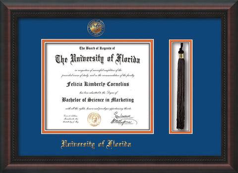 Image of University of Florida Diploma Frame - Mahogany Braid - w/Embossed Seal & Name - Tassel Holder - Royal Blue on Orange mat