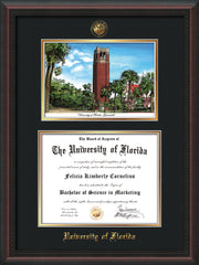 Image of University of Florida Diploma Frame - Mahogany Braid - w/Embossed Seal & Name - Watercolor - Black on Gold mat