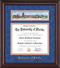 Image of University of Florida Diploma Frame - Mahogany Lacquer - w/Embossed School Name Only - Campus Collage - Royal Blue Suede on Orange mat