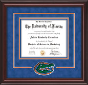 Image of University of Florida Diploma Frame - Mahogany Lacquer - 3D Laser UF Gator Head Logo Cutout - Royal Blue Suede on Orange on Royal Blue mat