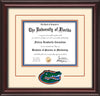 Image of University of Florida Diploma Frame - Mahogany Lacquer - 3D Laser UF Gator Head Logo Cutout - Cream on Orange on Royal Blue mat