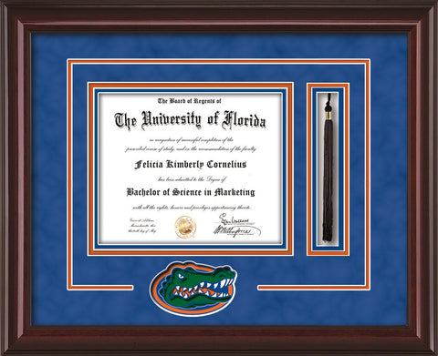 Image of University of Florida Diploma Frame - Mahogany Lacquer - 3D Laser Gator Head Logo Cutout - Tassel Holder - Royal Blue Suede on Orange on Green on Royal Blue mat