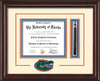 Image of University of Florida Diploma Frame - Mahogany Lacquer - 3D Laser UF Gator Head Logo Cutout - Tassel Holder - Cream on Orange on Royal Blue mat