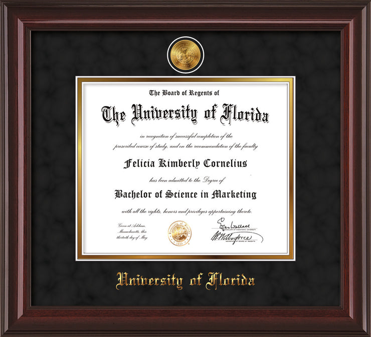 Image of University of Florida Diploma Frame - Mahogany Lacquer - w/24k Gold-Plated Medallion UFL Name Embossing - Black Suede on Gold mats