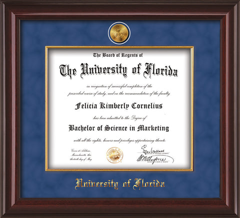 Image of University of Florida Diploma Frame - Mahogany Lacquer - w/24k Gold-Plated Medallion & Fillet - w/UFL Name Embossing - Royal Blue Suede mat