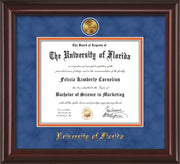 Image of University of Florida Diploma Frame - Mahogany Lacquer - w/24k Gold-Plated Medallion UFL Name Embossing - Royal Blue Suede on Orange mats