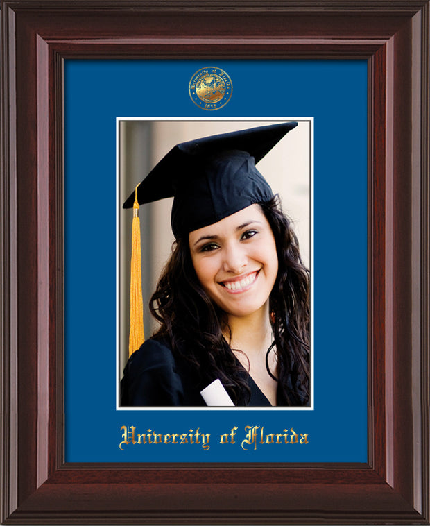 Image of University of Florida 5 x 7 Photo Frame - Mahogany Lacquer - w/Official Embossing of UF Seal & Name - Single Royal Blue mat