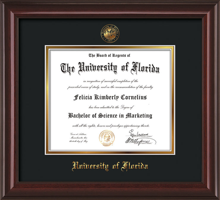 Image of University of Florida Diploma Frame - Mahogany Lacquer - w/Embossed Seal & Name - Black on Gold mat