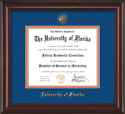 Image of University of Florida Diploma Frame - Mahogany Lacquer - w/Embossed Seal & Name - Royal Blue on Orange mat