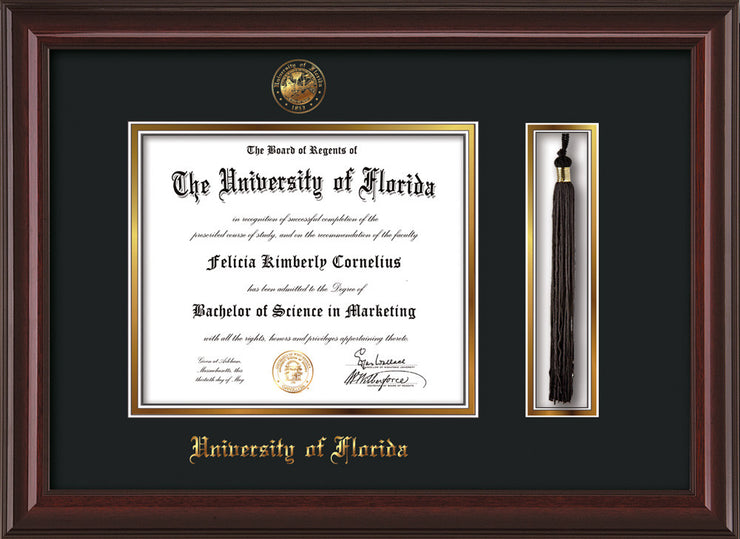 Image of University of Florida Diploma Frame - Mahogany Lacquer - w/Embossed Seal & Name - Tassel Holder - Black on Gold mat