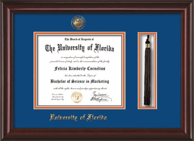 University of Florida Diploma Frame - Mahogany Lacquer - w/UF Embossed Seal & Name - Tassel Holder - Royal Blue on Orange mat