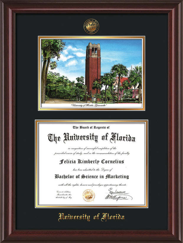 Image of University of Florida Diploma Frame - Mahogany Lacquer - w/Embossed Seal & Name - Watercolor - Black on Gold mat