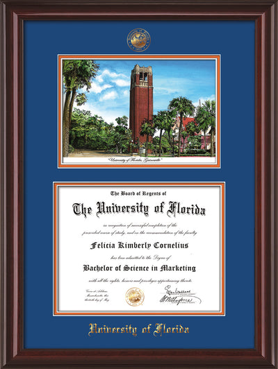 Image of University of Florida Diploma Frame - Mahogany Lacquer - w/Embossed Seal & Name - Watercolor - Royal Blue on Orange mat