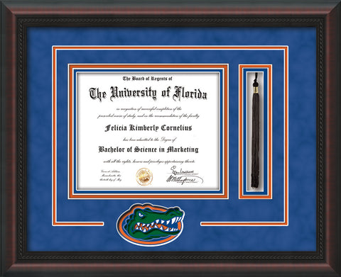 Image of University of Florida Diploma Frame - Mahogany Braid - 3D Laser Gator Head Logo Cutout - Tassel Holder - Royal Blue Suede on Orange on Green on Royal Blue mat