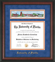 Image of University of Florida Diploma Frame - Rosewood - w/Embossed School Name Only - Campus Collage - Royal Blue Suede on Orange mat