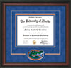 Image of University of Florida Diploma Frame - Rosewood - 3D Laser Gator Head Logo Cutout - Royal Blue Suede on Orange on Green mat
