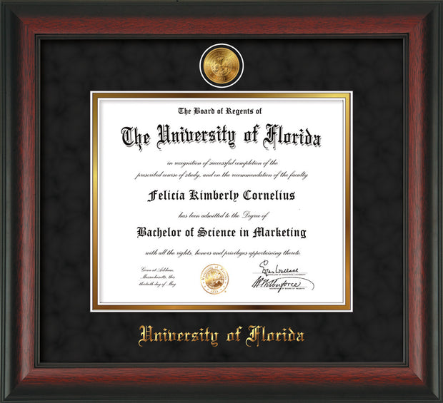 Image of University of Florida Diploma Frame - Rosewood - w/24k Gold-Plated Medallion UFL Name Embossing - Black Suede on Gold mats