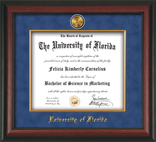 Image of University of Florida Diploma Frame - Rosewood - w/24k Gold-Plated Medallion & Fillet - w/UFL Name Embossing - Royal Blue Suede mat