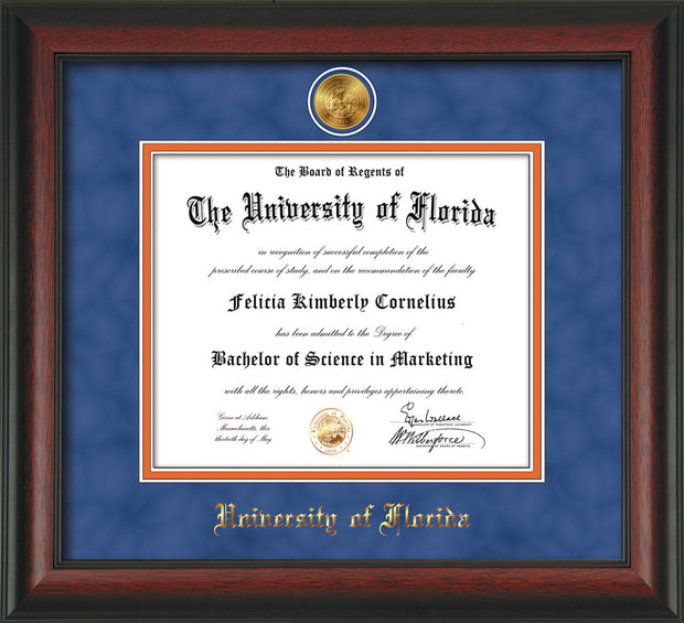 Image of University of Florida Diploma Frame - Rosewood - w/24k Gold-Plated Medallion UFL Name Embossing - Royal Blue Suede on Orange mats