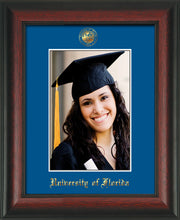 Image of University of Florida 5 x 7 Photo Frame - Rosewood - w/Official Embossing of UF Seal & Name - Single Royal Blue mat