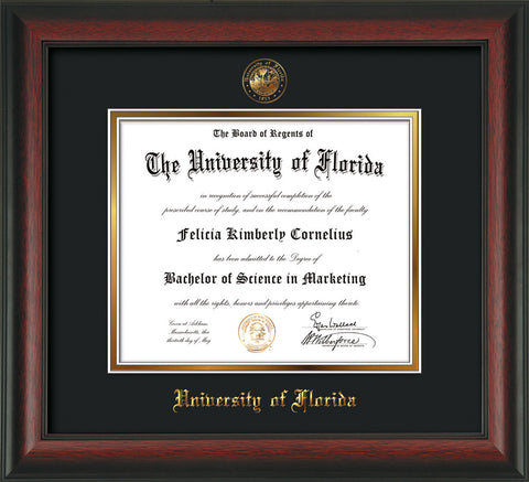 Image of University of Florida Diploma Frame - Rosewood - w/Embossed Seal & Name - Black on Gold mat