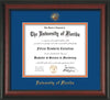 Image of University of Florida Diploma Frame - Rosewood - w/Embossed Seal & Name - Royal Blue on Orange mat
