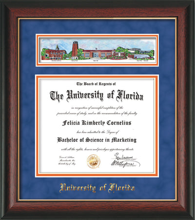 Image of University of Florida Diploma Frame - Rosewood w/Gold Lip - w/Embossed School Name Only - Campus Collage - Royal Blue Suede on Orange mat