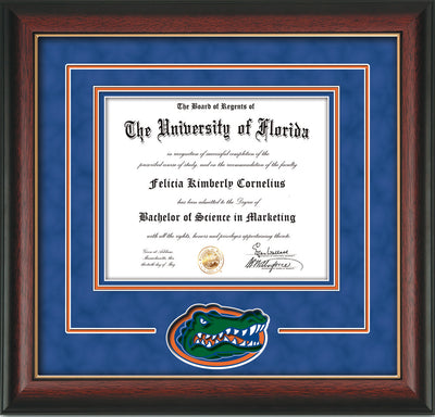 Image of University of Florida Diploma Frame - Rosewood w/Gold Lip - 3D Laser UF Gator Head Logo Cutout - Royal Blue Suede on Orange on Royal Blue mat