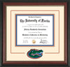 Image of University of Florida Diploma Frame - Rosewood w/Gold Lip - 3D Laser UF Gator Head Logo Cutout - Cream on Orange on Royal Blue mat