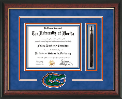 Image of University of Florida Diploma Frame - Rosewood w/Gold Lip - 3D Laser Gator Head Logo Cutout - Tassel Holder - Royal Blue Suede on Orange on Green on Royal Blue mat