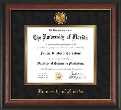 Image of University of Florida Diploma Frame - Rosewood w/Gold Lip - w/24k Gold-Plated Medallion UFL Name Embossing - Black Suede on Gold mats