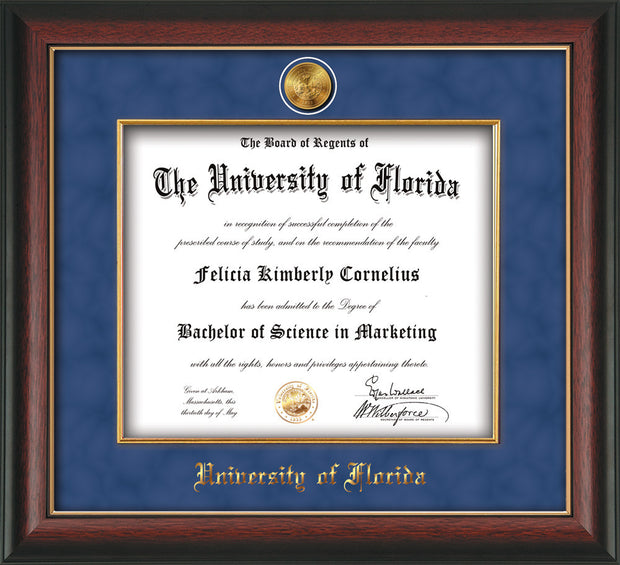 Image of University of Florida Diploma Frame - Rosewood w/Gold Lip - w/24k Gold-Plated Medallion & Fillet - w/UFL Name Embossing - Royal Blue Suede mat
