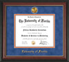 Image of University of Florida Diploma Frame - Rosewood w/Gold Lip - w/24k Gold-Plated Medallion UFL Name Embossing - Royal Blue Suede on Orange mats