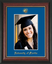 Image of University of Florida 5 x 7 Photo Frame - Rosewood w/Gold Lip - w/Official Embossing of UF Seal & Name - Single Royal Blue mat