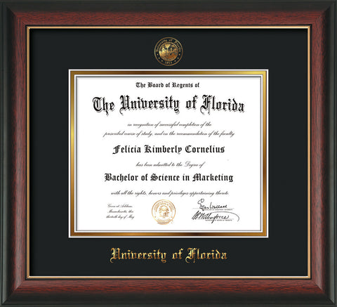 Image of University of Florida Diploma Frame - Rosewood w/Gold Lip - w/Embossed Seal & Name - Black on Gold mat