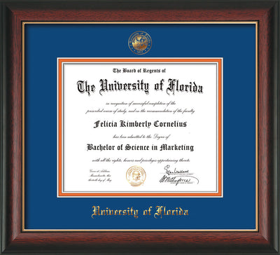 Image of University of Florida Diploma Frame - Rosewood w/Gold Lip - w/Embossed Seal & Name - Royal Blue on Orange mat