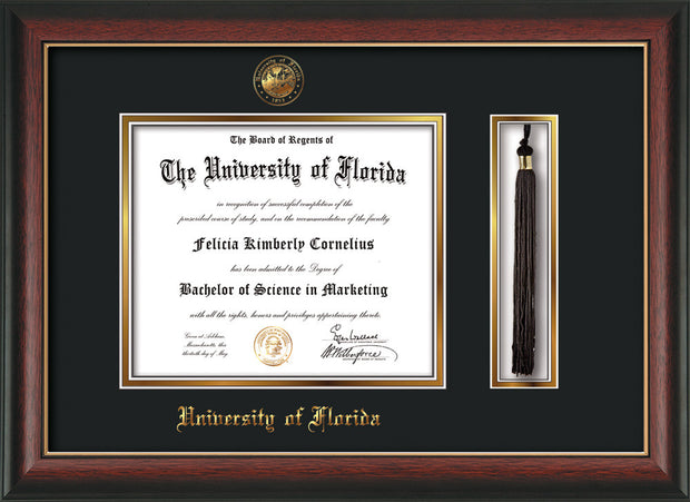 Image of University of Florida Diploma Frame - Rosewood w/Gold Lip - w/Embossed Seal & Name - Tassel Holder - Black on Gold mat