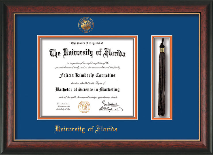 Image of University of Florida Diploma Frame - Rosewood w/Gold Lip - w/Embossed Seal & Name - Tassel Holder - Royal Blue on Orange mat