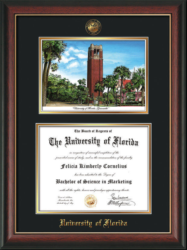 Image of University of Florida Diploma Frame - Rosewood w/Gold Lip - w/Embossed Seal & Name - Watercolor - Black on Gold mat