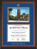 Image of University of Florida Diploma Frame - Rosewood w/Gold Lip - w/Embossed Seal & Name - Watercolor - Royal Blue on Orange mat