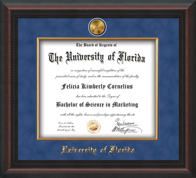 Image of University of Florida Diploma Frame - Mahogany Braid - w/24k Gold-Plated Medallion & Fillet - w/UFL Name Embossing - Royal Blue Suede mat