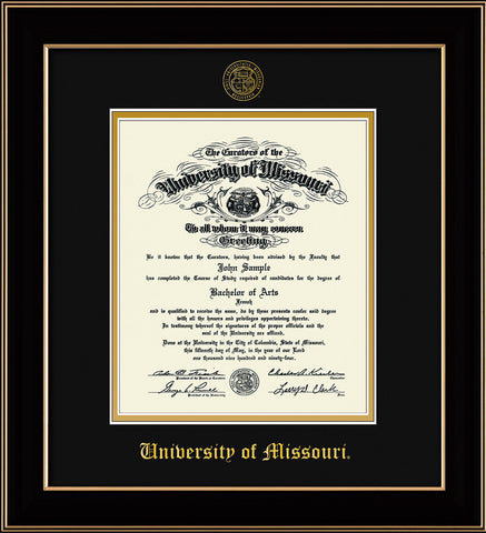 Image of University of Missouri Diploma Frame - Black Lacquer - w/Embossed UMO Seal & Name - Black on Gold mat