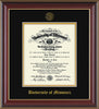 Image of University of Missouri Diploma Frame - Cherry Lacquer - w/Embossed UMO Seal & Name - Black on Gold mat