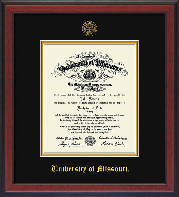 Image of University of Missouri Diploma Frame - Cherry Reverse - w/Embossed UMO Seal & Name - Black on Gold mat